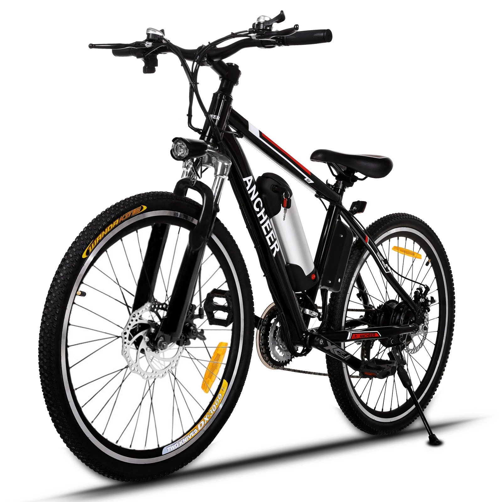 ANCHEER Power Plus Electric Mountain Bike, 26'' Electric Bike with 36V 8Ah Lithium-Ion Battery, Shimano 21 Speed Shifter (Black-Add Free Assembly)