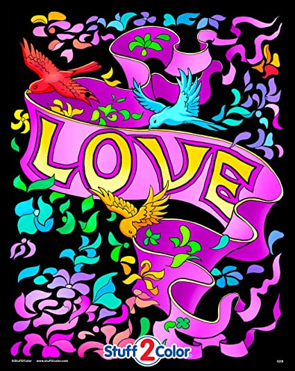 Amazon.com: Stuff2Color Love Banner - Beautiful Fuzzy Velvet Coloring Poster  For Kids And Adults (Excellent Indoor Coloring Activity): Toys & Games