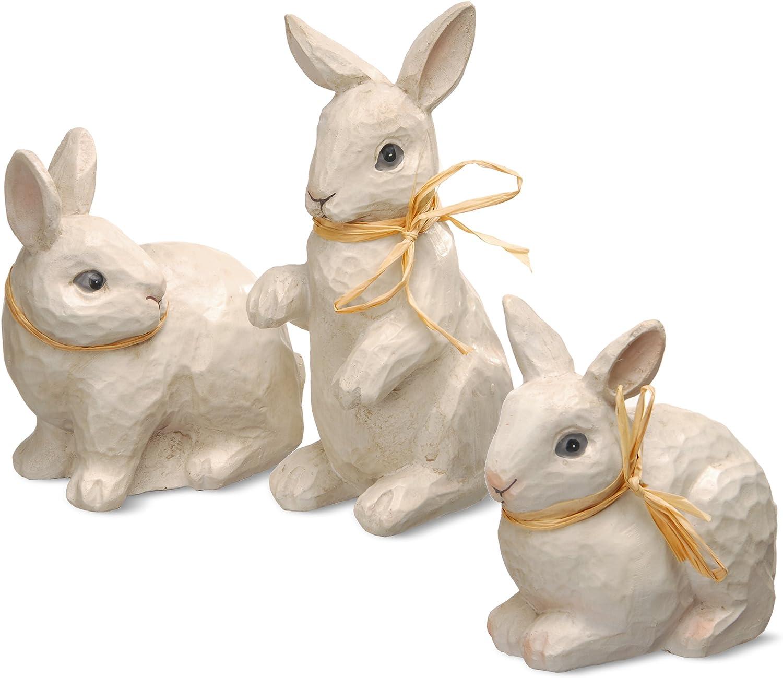 National Tree Set of 3 Assorted Woodcut Appearance Rabbits (RAE-EK150044)