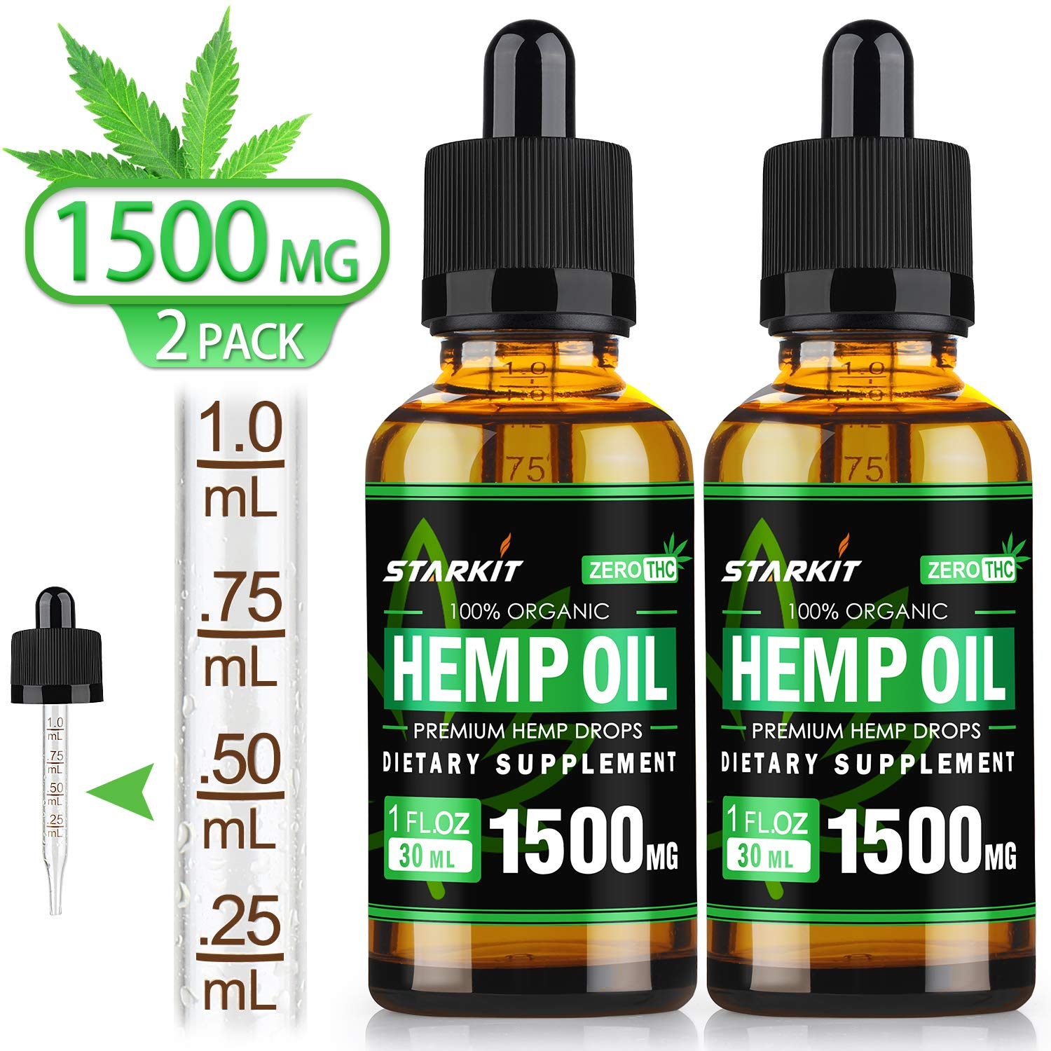 2x30ml - Hemp Oil Extract 1500mg Natural for Pain Anxiety & Stress Relief, Better Sleep, Mood Support, STARKIT Drops Rich in Fatty Acids Omega 3 6 9 from Organic Hemp Seed by STARKIT