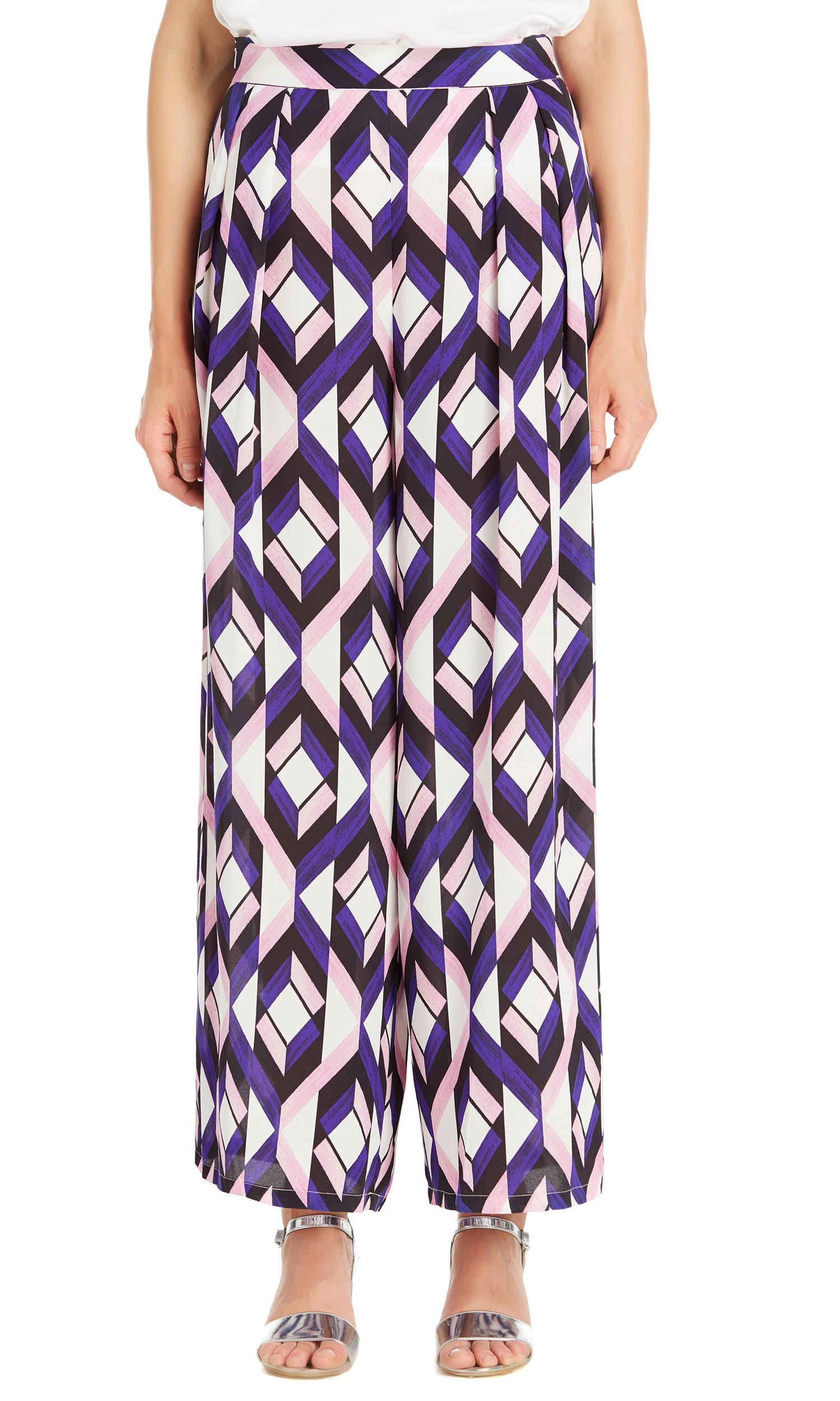 LILYSILK Women's 100 Pure Silk Trousers Wide Leg 19MM Geo Print for Ladies Designer Fashion Summer Geo Print Purple XXL/18-20