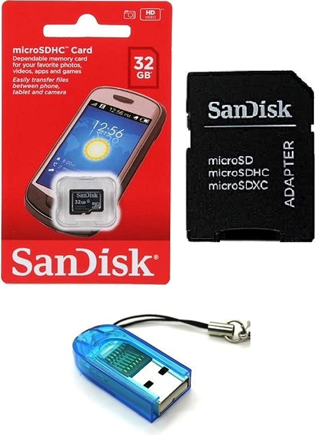 8fb0ad32a65 Amazon.com: Sandisk 32GB Class 4 MicroSDHC MicroSD C4 TF Flash Memory Card  with SD Adapter and USB SD Card Reader/Writer #R13 (Bulk Packaged):  Computers & ...