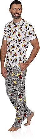 Disney Conjunto clásico de pijama de Mickey Mouse para hombre y pantalón lounge