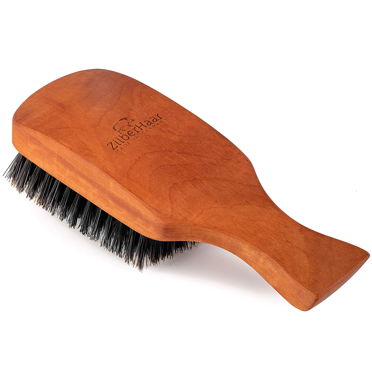 ZilberHaar Major - Hair & Beard Brush - Natural Boar Bristles and Pear Wood - All Beard and Hair Types - Best for Medium to Thick Long Beards - A Must-Have Grooming Tool for Men who Like it Big