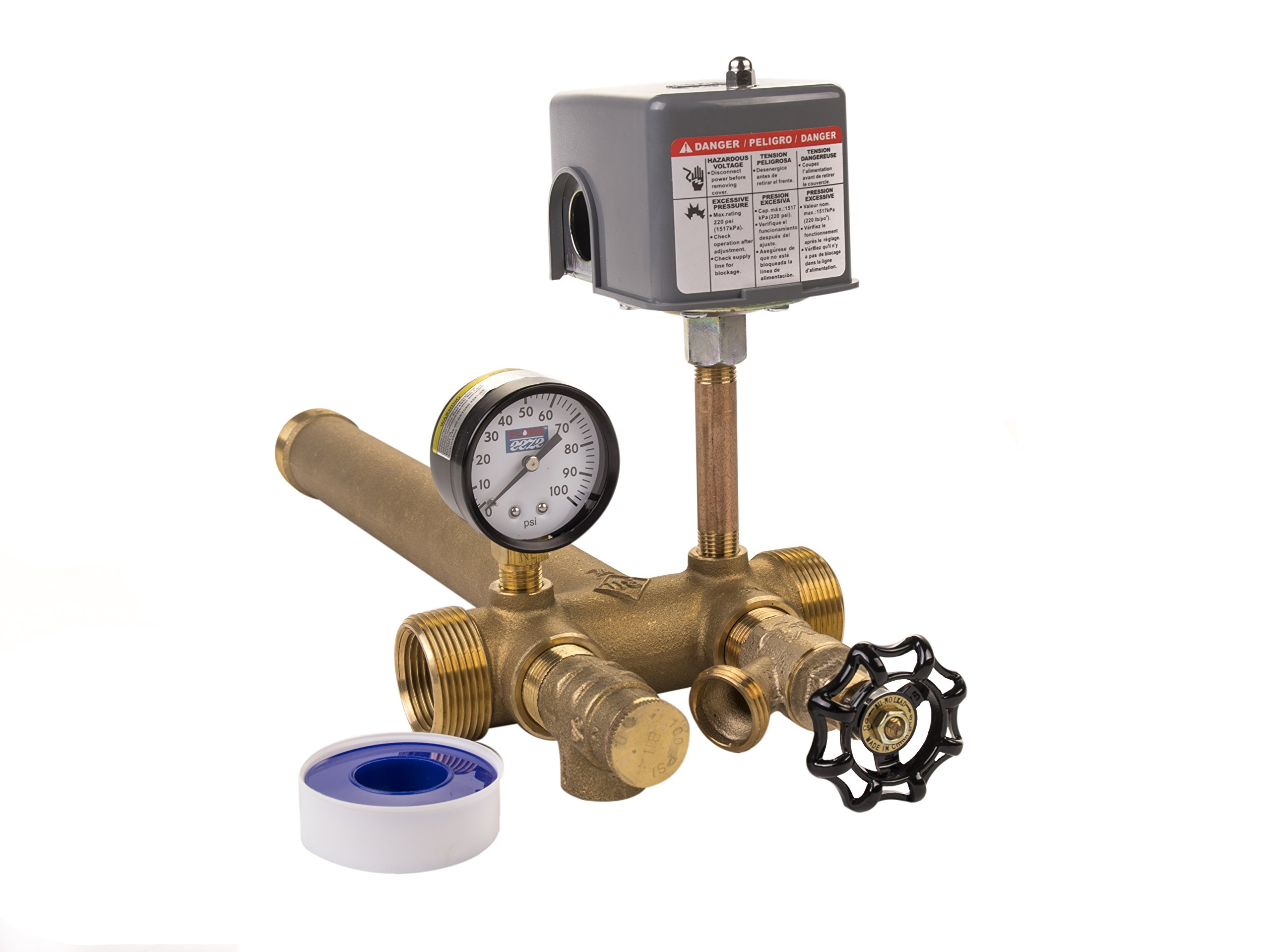 Plumb Eeze by Boshart 1.25 x 14 Tank Tee Kit Installation Water Well Pressure Tank with 40/60 pressure switch NO LEAD