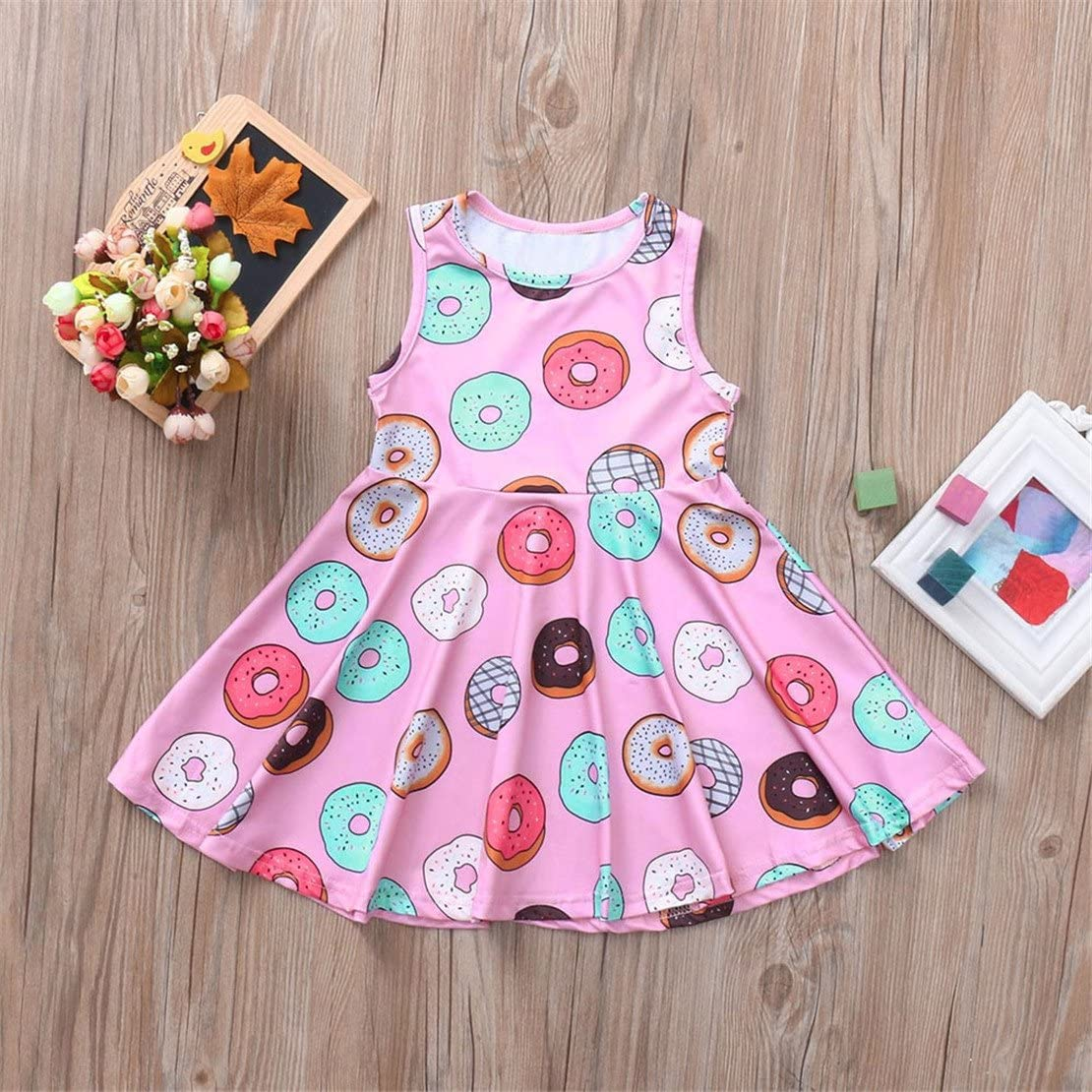 ZHANGVIP Toddler Kids Baby Girls Doughnut Printed Dress Cartoon Pattern Sleeveless Princess Dress Clothes Outfits Skirt