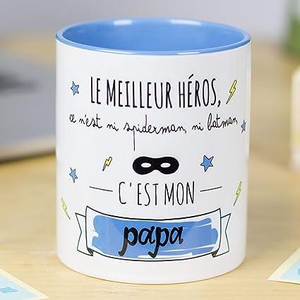 Nos Pensées Tasse Avec Message Et Dessin Amusant Le Héros Ce N Est Ni Spiderman Ni Batman C Est Mon Papa Cadeau Original Pour Un Papa