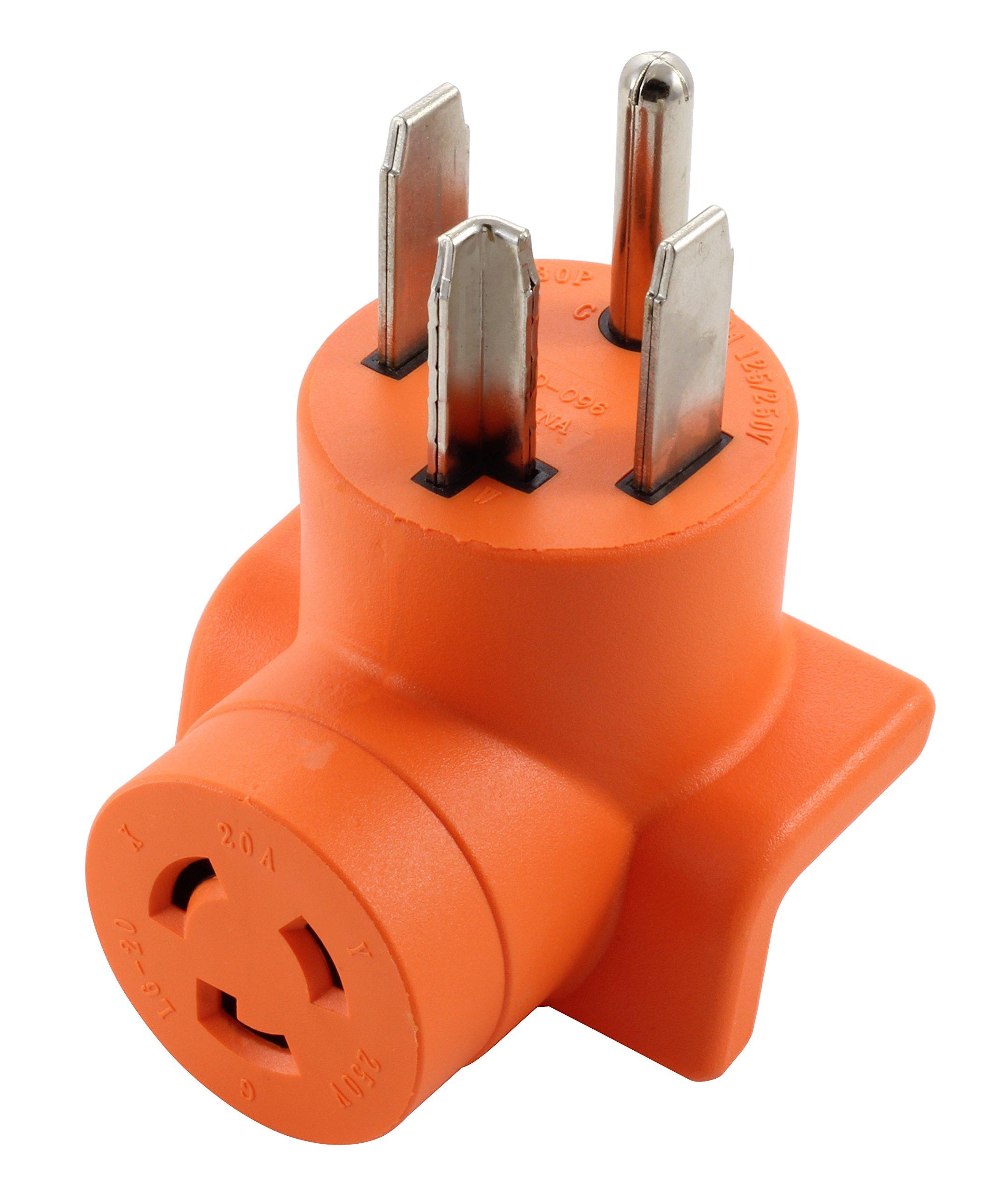 AC WORKS [AD1430L620] Dryer Outlet Adapter NEMA 14-30P 30Amp Dryer Outlet to L6-20R 20Amp 250Volt Locking Female Connector