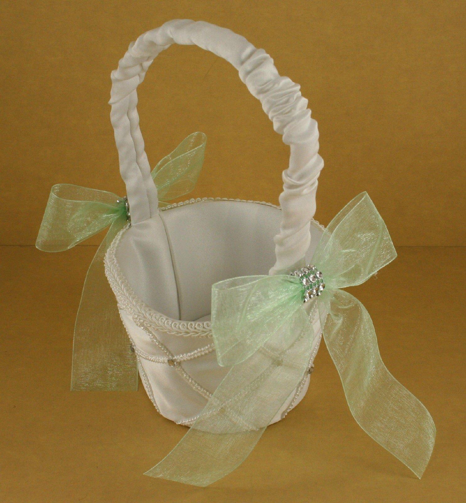 IVORY Wedding Flower Girl Lattice Design Basket Organza Bow & Faux Rhinestone Accent (MINT GREEN BOW)