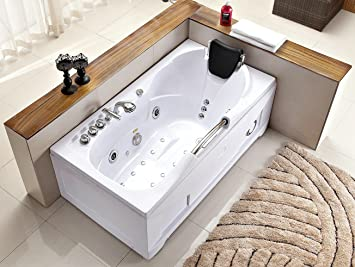 60 Inch White Bathtub Whirlpool Jetted Bath Hydrotherapy 19 Massage Air  Jets Inline Heater Shower Wand