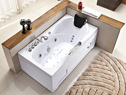 Charmant 60 Inch White Bathtub Whirlpool Jetted Bath Hydrotherapy 19 Massage Air  Jets Inline Heater Shower Wand