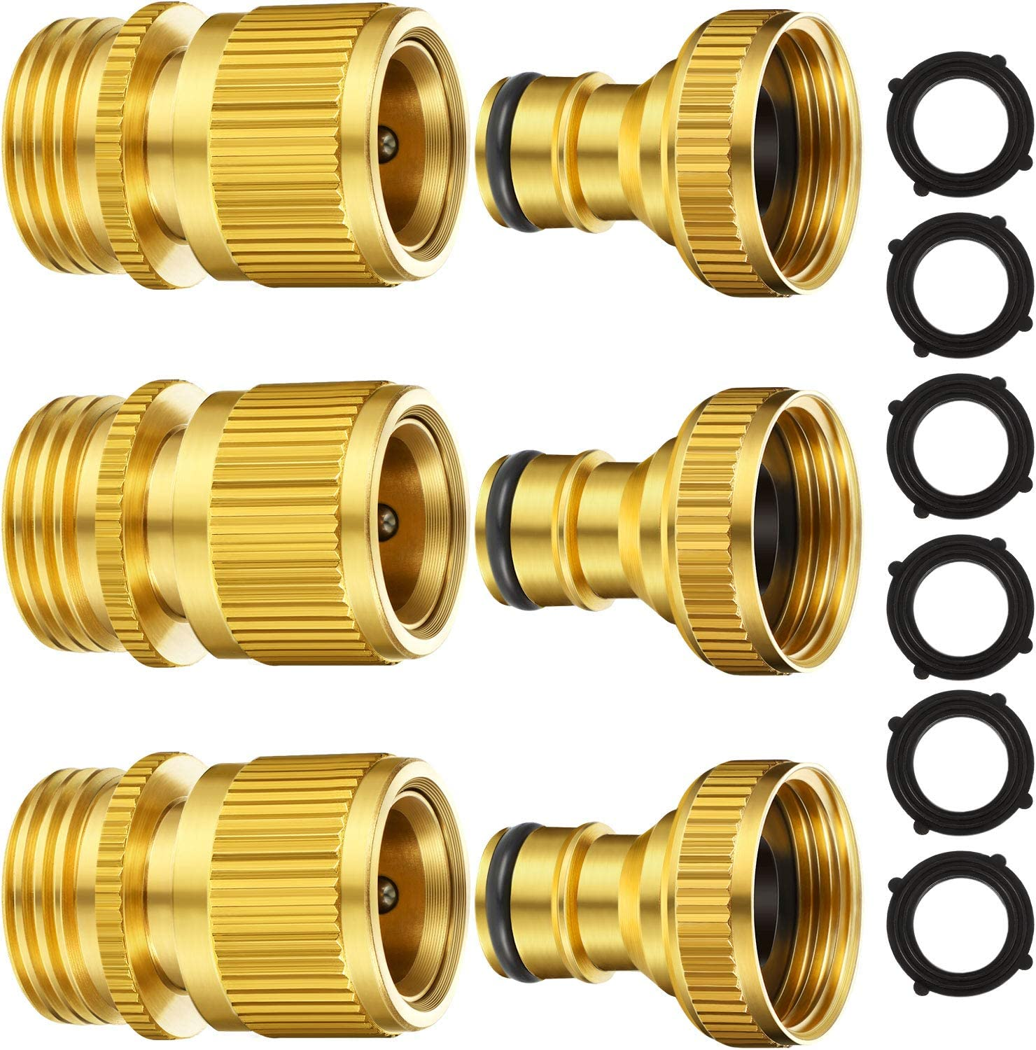 Garden Hose Quick Connect Fittings Solid Brass Quick Connector 3/4 Inch GHT Garden Water Hose Connectors with Extra Rubber Washers, Male (IT) and Female (OT) (3 Sets)