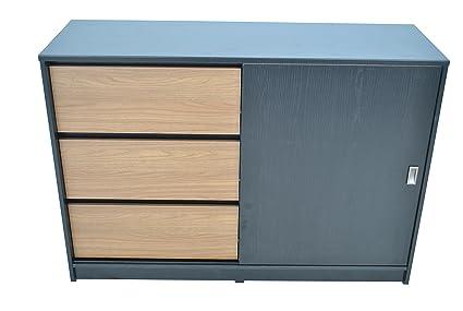 Aparador con 3 cajones Negro de Madera Grano Dormitorio Peltre Madera para Muebles de Oficina archivador