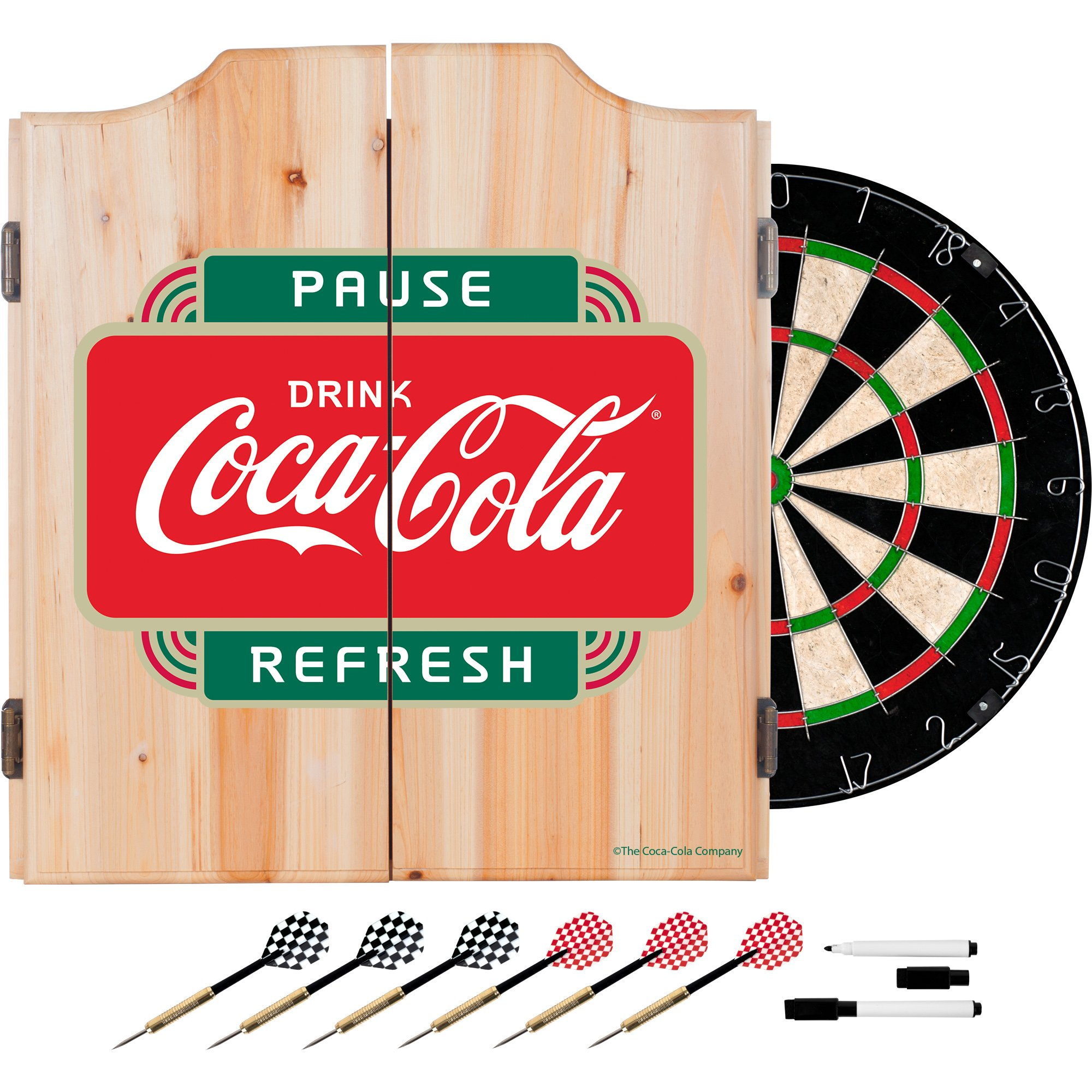 Trademark Gameroom COKE7010-PR Coca Cola Dart Cabinet Set with Darts & Board - Pause Refresh