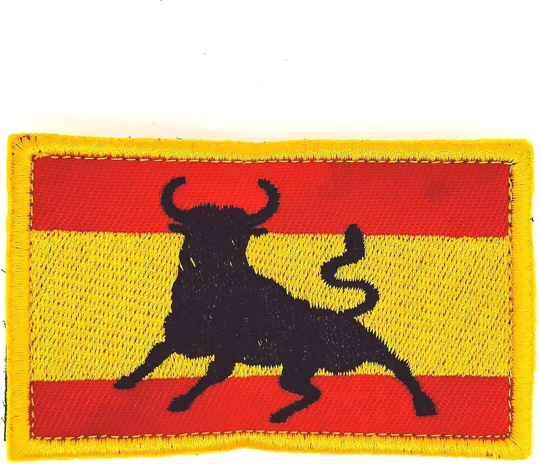 Gemelolandia Parche Bordado Hook and Loop Bandera España Toro 8x5, 5cm: Amazon.es: Ropa y accesorios