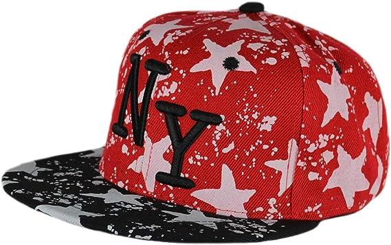 Gorra Plana De Béisbol New York Hip Hop Snapback (Rojo/Negro ...