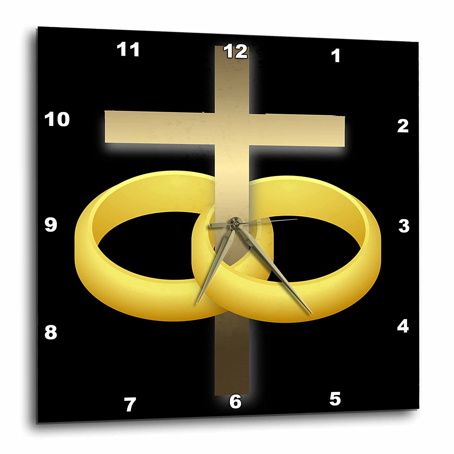 3dRose dpp/_47318/_3 Marriage or Anniversary Cross with Two Gold Wedding Rings Around a Gold Cross on a Black Background Wall Clock 15 by 15-Inch