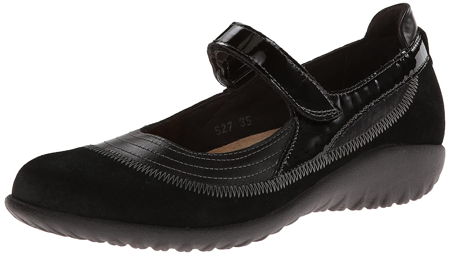 NAOT Footwear Women's Kirei Mary Jane Flat B003D3PPVA 38 EU/6.5 - 7 M US|Black Madras Leather/Black Suede/Black Patent Leather