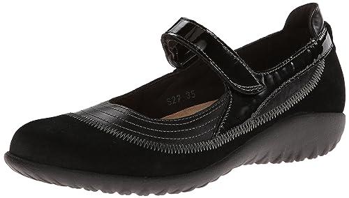 Naot Women's Kirei Mary Jane Flat, Black Madras Leather/Black Suede/Black  Patent