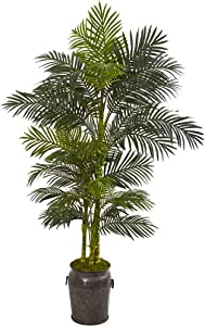 Nearly Natural 7' Golden Cane Artificial Palm Decorative Planter Silk Trees Green