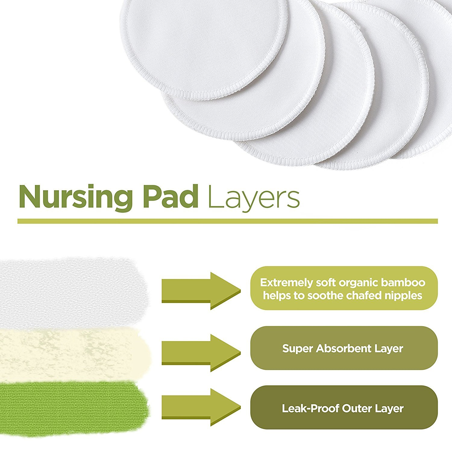 Waterproof absorbent pads 4 pairs Leakproof Kiddo Care Washable Organic Bamboo Nursing Pads -8 PACK baby shower gift! Ultra soft White- Reusable Breast Pads,Bra pads