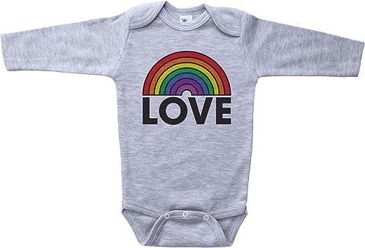 LGBT Rainbow American Flag Heart Baby Girl Long Sleeve Infant Cotton Bodysuits