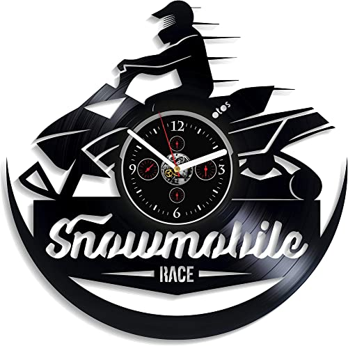 HandmadeCorp Kovides Snowmobile Wall Clock Vintage Vinyl Record Retro Wall Clock Snowmobile Art Exclusive Wall Clock 12 Inch Birthday Gift Snowmobile Gift