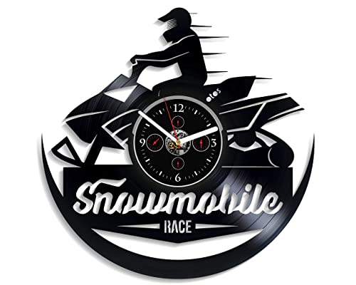 Snowmobile Wall Clock Vintage Vinyl Record Retro Wall Clock Snowmobile Art Exclusive Wall Clock 12 Inch Birthday Gift Snowmobile Gift for Boys New Year Gift for Husband Handmade Clock