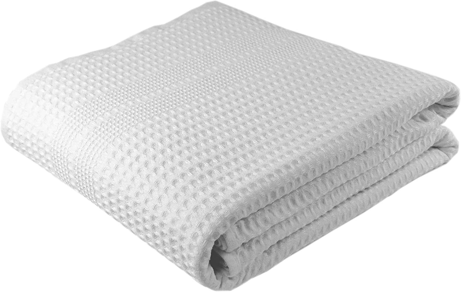 Premium Large Waffle Weave Bath Sheet 100% Natural Cotton – Generous Size Lightweight Ultra Absorbent Quick Drying Fade Resistant (White): Kitchen & Dining