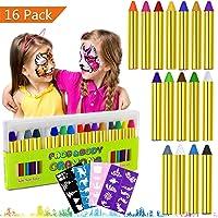 Trucchi per Truccabimbi,Emooqi 16 Colori Face Painting Body Painting Kit per Bambini Set Colori per Viso Professionali con 40 Stampini - Sicuro e Non Tossico,per Fetto per Carnevale, Cosplay