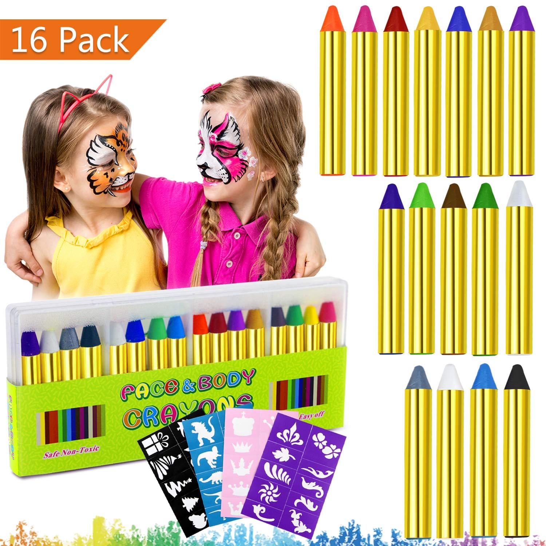 2c5d30192 Emooqi Pintura Facial, 16 Colores Face Paint Crayons Pintura Corporal  Maquillajes Disfraces Seguros y No