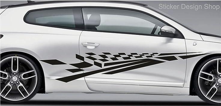 2er Set Racing Seiten Streifen Autoaufkleber Sport Auto Tattoo Aufkleber Sticker Tuning M3 160 Cm Auto