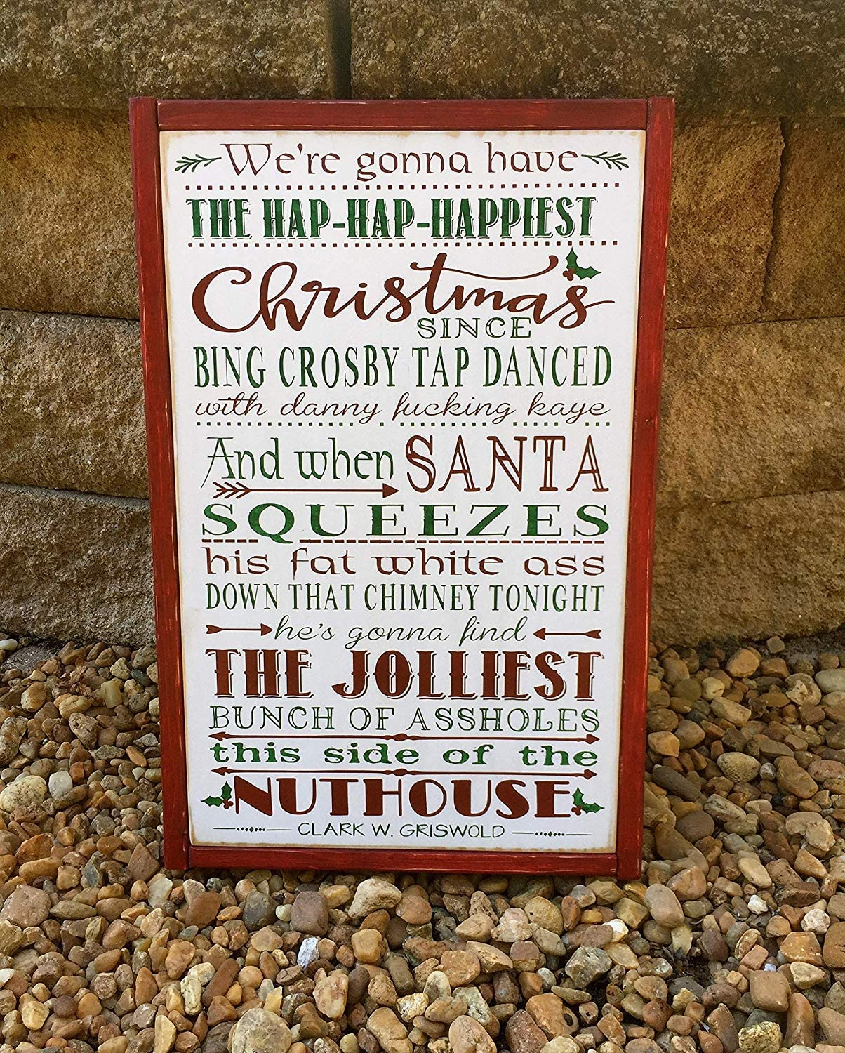 wonbye Wood Hanging Sign Christmas Vacation Sign National Lampoon Griswold Christmas Movie Quote Home Theater Sign