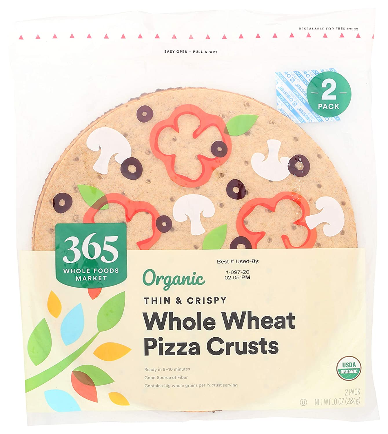 365 by Whole Foods Market, Organic Pizza Crusts, Thin & Crispy - Whole Wheat (2 Pack), 1 Ounce