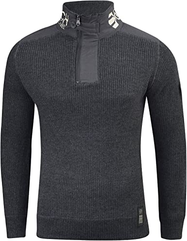 Mens Jumper Crosshatch Waffle Knitted 1//4 Zip Up Funnel Neck Sweater