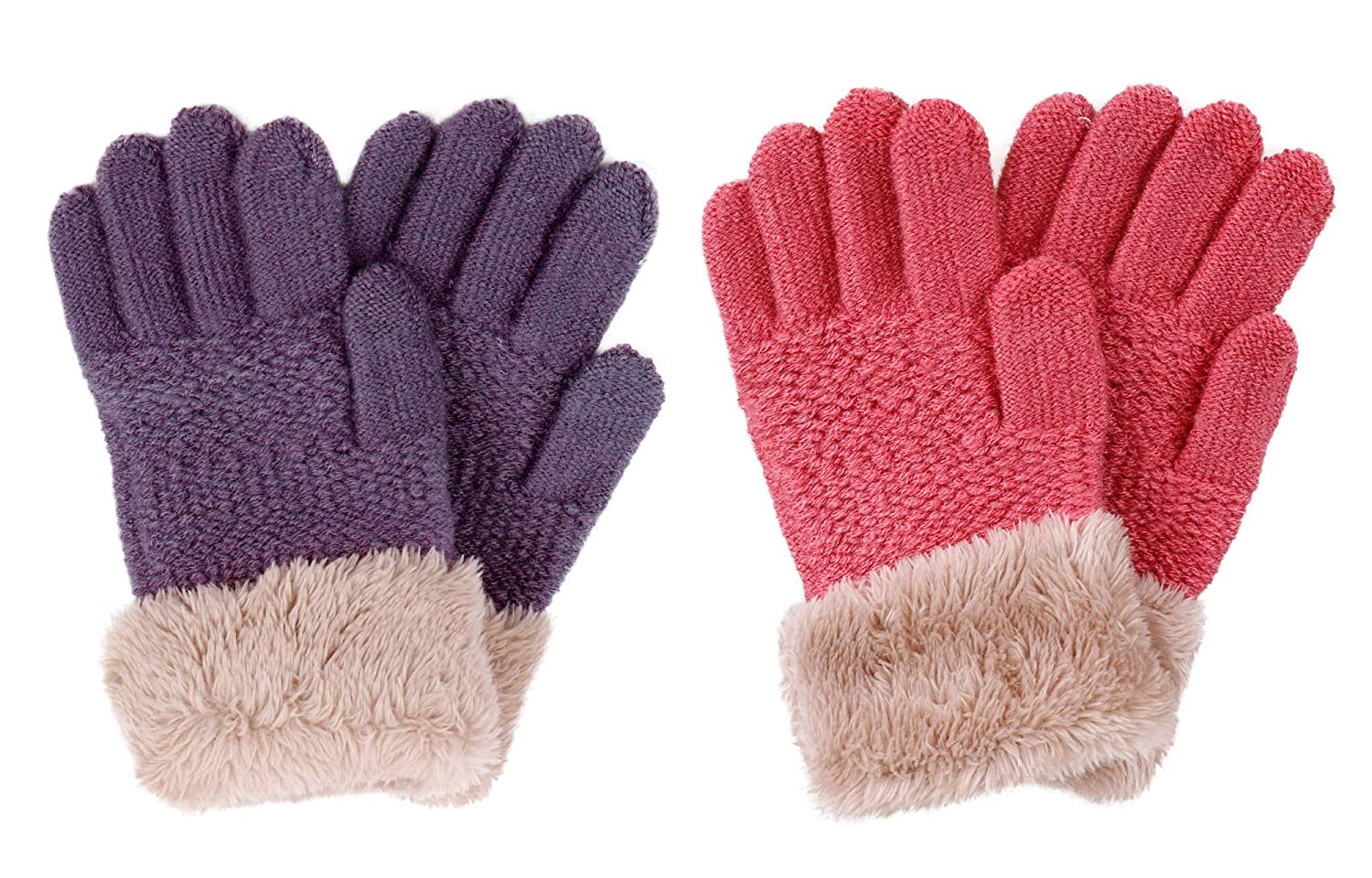 2 & 3 Pack Kids Touchscreen Winter Knit Mittens with Faux Fur Cuff
