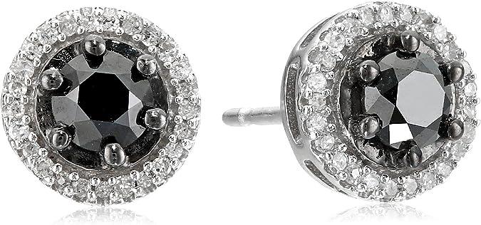 Sterling Silver Blue Diamanté  Crystal Ball Stud Earrings Jewellery