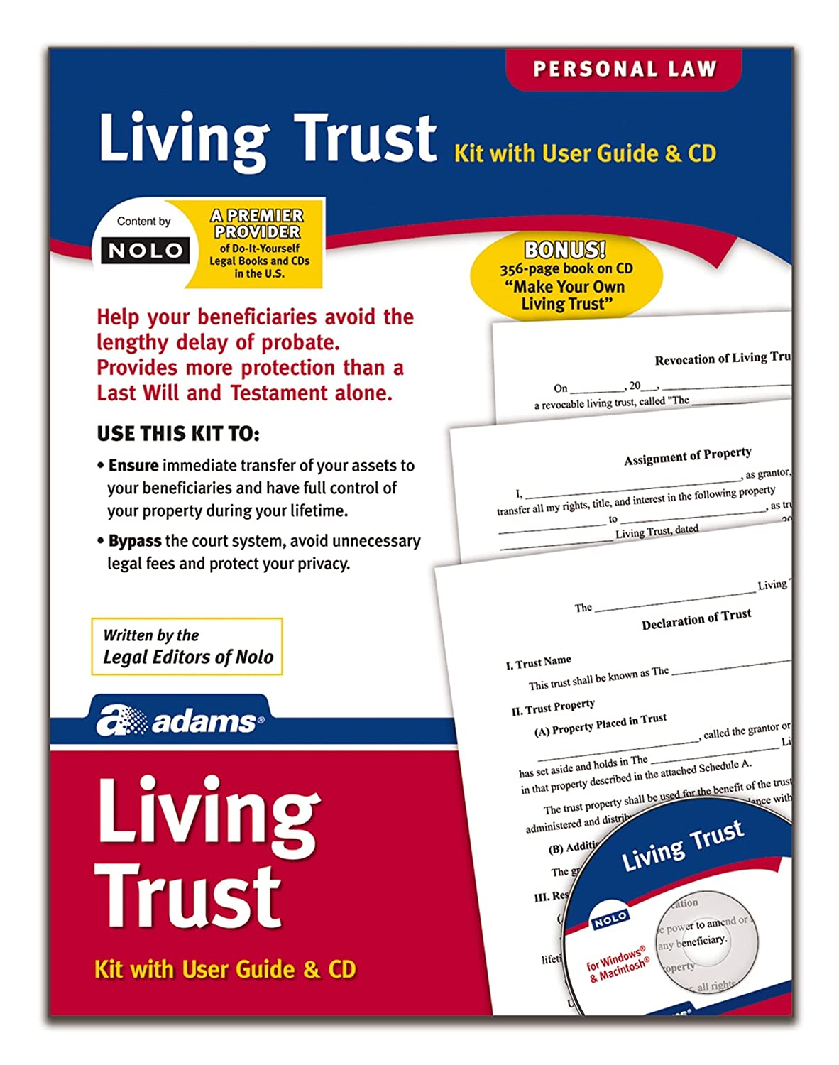 Amazon adams living trust kit forms and instructions amazon adams living trust kit forms and instructions includes cd k305 legal forms office products solutioingenieria Images