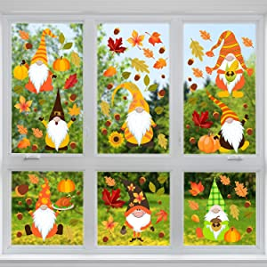 Outus 135 Pieces Thanksgiving Window Clings Decal Stickers Fall Thanksgiving Maple Window Decoration Gnome Thanksgiving Window Stickers for Home, Fall Decorations, 12 Sheets, 4 Styles