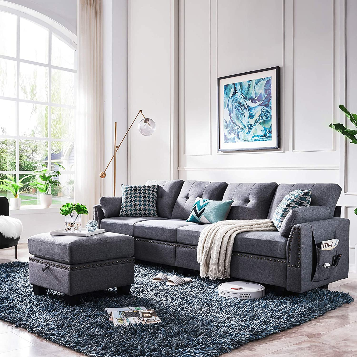 HONBAY Reversible Sectional Sofa Couch for Living Room