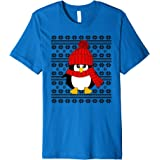 Red Baby Penguin Ugly Christmas Sweater Poinsettias T-Shirt