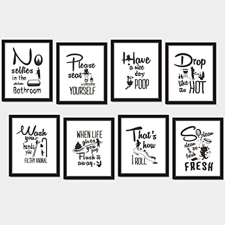 Amazon Com 8x Bathroom Art Picture Quotes Wall Decor Accessories Laminated And Flat Pack Each Measures 10 X 8 Posters Prints