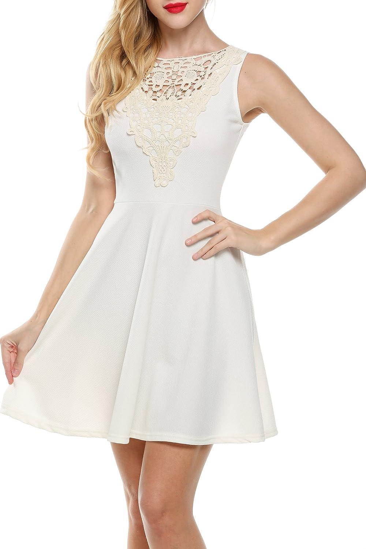 Zeagoo Damen Rundhalsausschnitt Partykleid Spitzenkleid Minikleid A-Linie Kleid mit ausgestelltem Rock