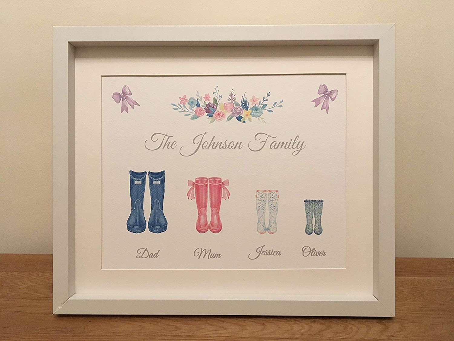 Personalised Watercolour Family Wellington Boots FRAMED Print Picture Design 1
