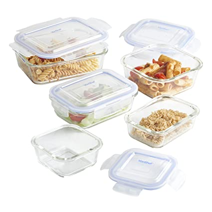 Amazoncom VonShef Glass Container Food Storage Set with Non BPA