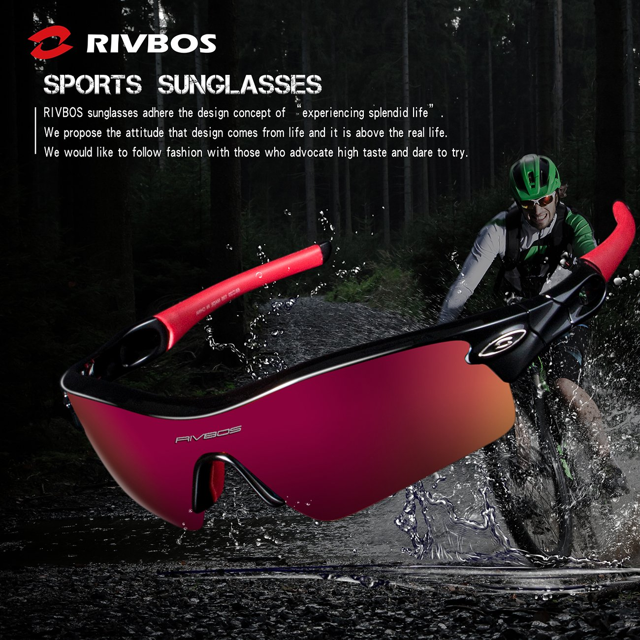 856aa444c8 RIVBOS 805 Polarized Sports Sunglasses Glasses with 5 Set Interchangeable  Lenses for Cycling (TR Black Ice Red Lens)  Amazon.com.au  Sports