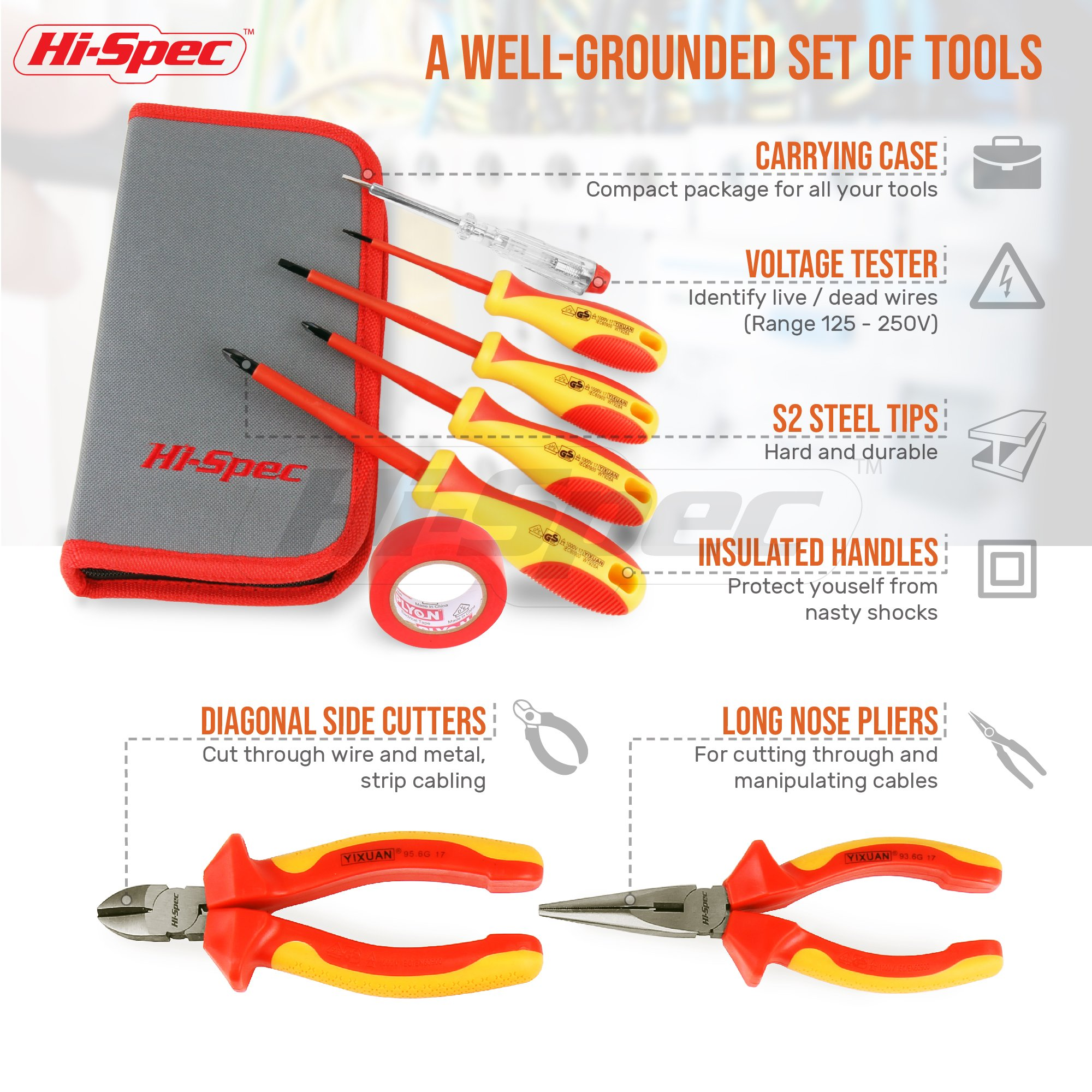 Hi-Spec 8 Piece Insulated Electrician Tool Set – 1000V VDE Approved Pliers, Slotted & Phillips Screwdrivers with S2 Steel Tips, Voltage Tester & Electrical Tape for DIY, Electrical Task, in Case by Hi-Spec (Image #3)