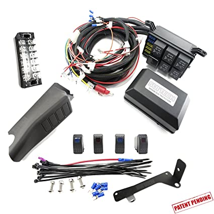 amazon com jeep jk control box electronic 6 relay system modulejeep jk control box electronic 6 relay system module wiring harness kit with free 4 rocker switch mount power up to 6 accessories and led off road