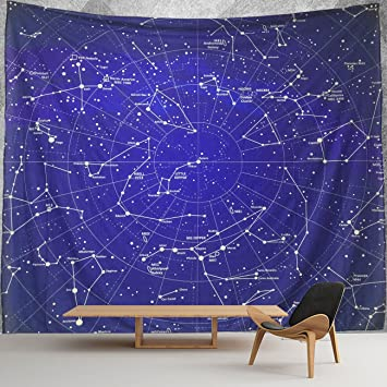 HMWR 12 Constellation Tapestry Wall Hanging Universe Galaxy Space Stars Wall  Fabric Tapestry Throw Artwork Home