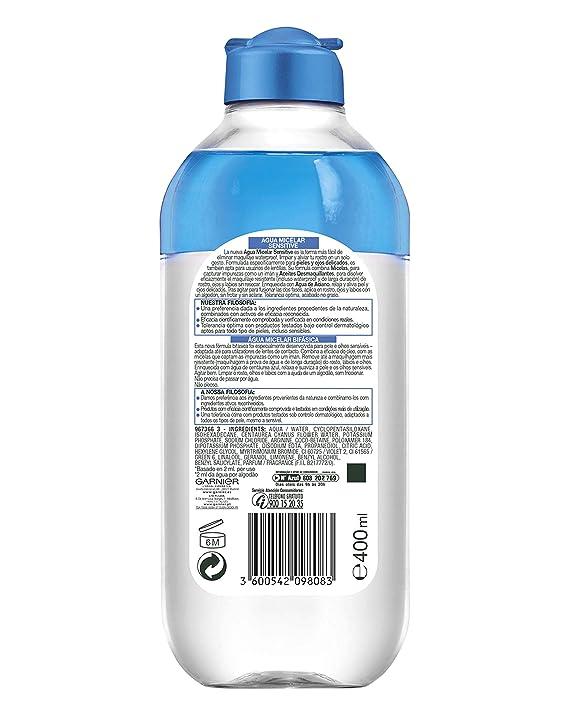 Garnier Skin Active Agua Micelar Sensitive para Pieles y Ojos Muy Sensibles - 400 ml: Amazon.es: Amazon Pantry